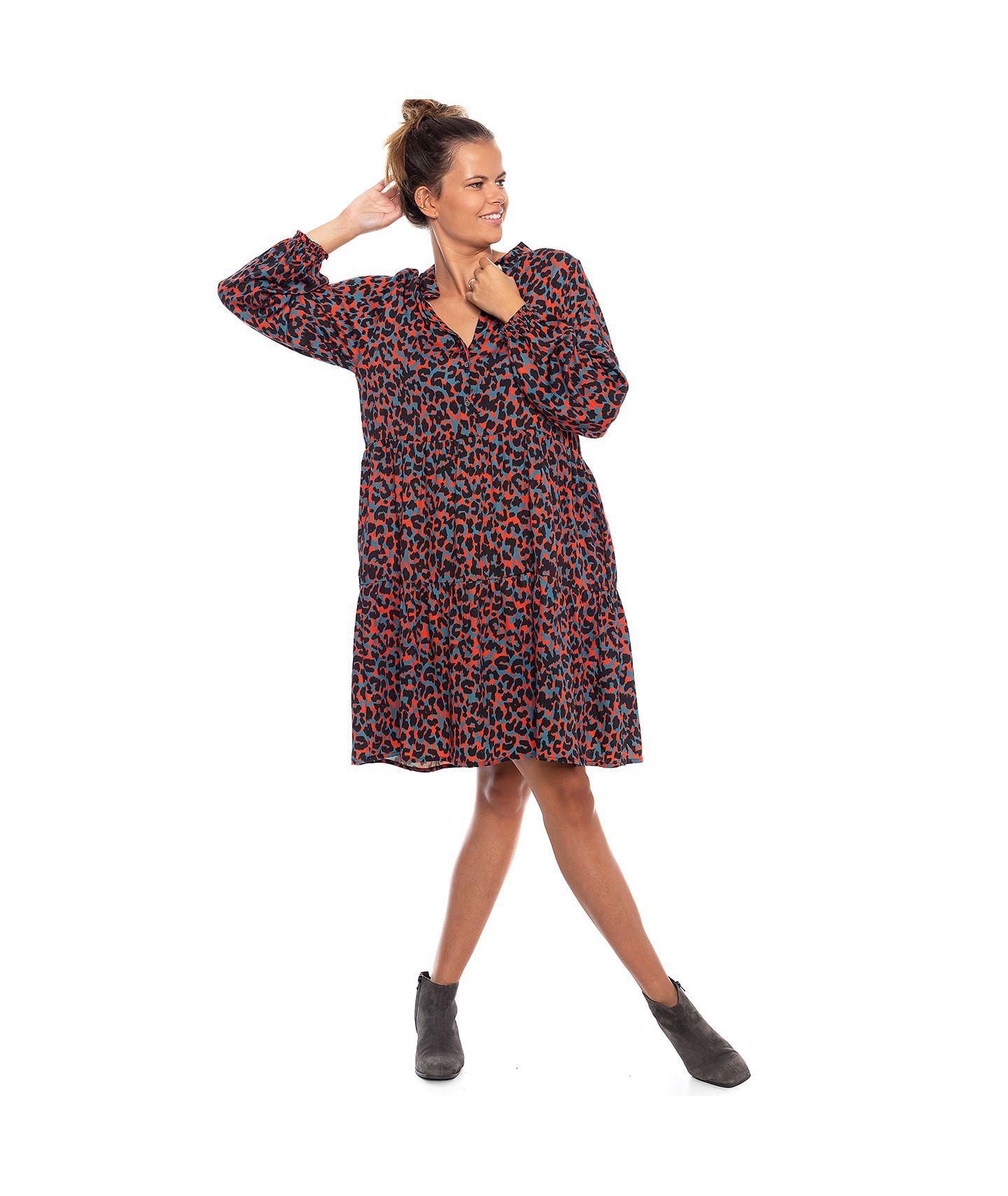 sukienka XIO szary/czerwony/czarny