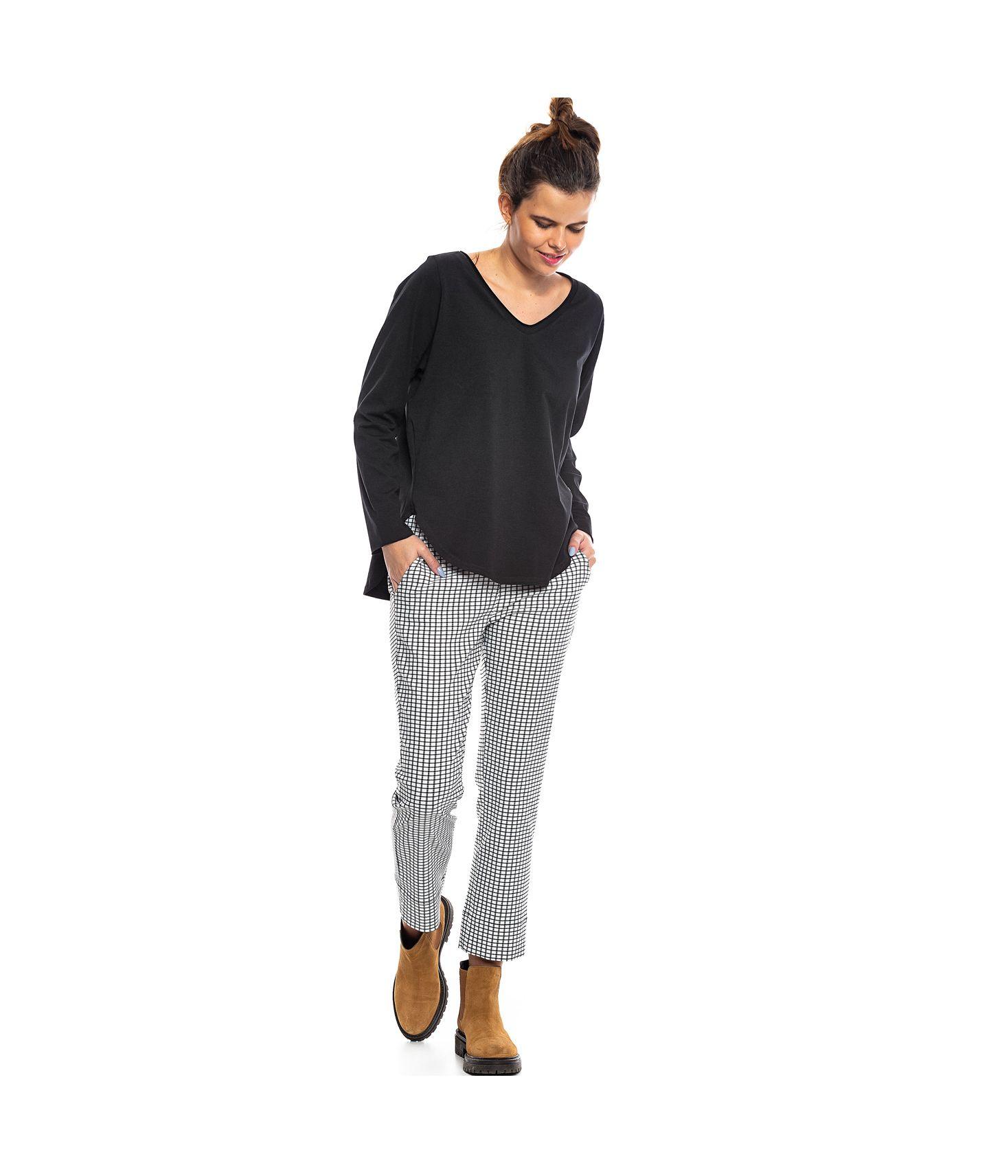 spodnie PANAMA check black-white