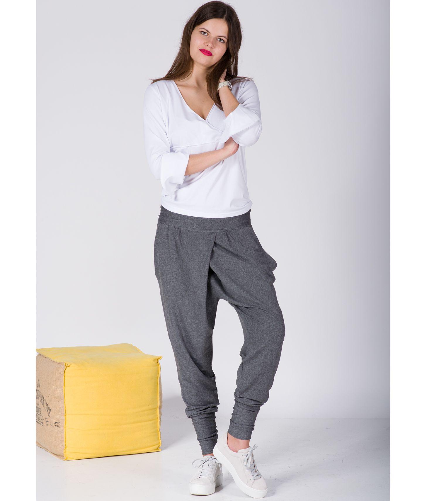 spodnie LUCA PANTS szary melanż