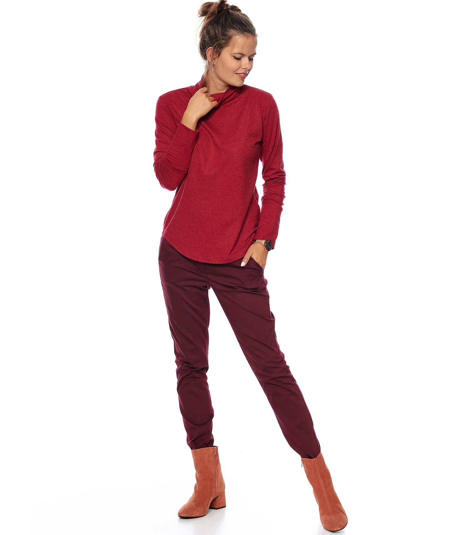 spodnie MAXINE COLOR bordo