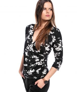 bluzka GIANNA flowers black BLOUSE
